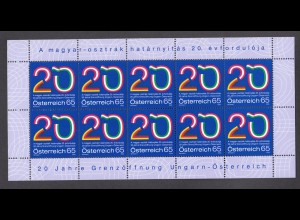 ÖSTERREICH MiNr. 2823 - 20 Jahre Grenzöffnung Ungarn Kleinbogen (2009) postfr/**