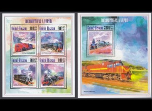 GUINEA-BISSAU Lokomotiven Locomotives Set (2013) postfrisch/** (MNH)