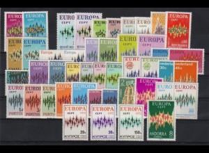 EUROPA CEPT Jahrgang 1972 komplett postfrisch/** (MNH) mit Spanisch Andorra