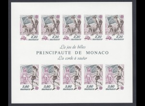EUROPA CEPT Monaco Block 1989 postfrisch/** (MNH) UNGEZÄHNT/IMPERFORATED