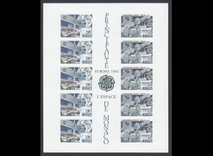 EUROPA CEPT Monaco Block 1991 postfrisch/** (MNH) UNGEZÄHNT/IMPERFORATED