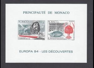 EUROPA CEPT Monaco 1994 Sonderdruck postfrisch/** (MNH) ungezähnt.
