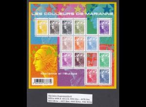 FRANKREICH Marianne Zusammendruckbogen (2009) postfrisch/** (NEUF/MNH)