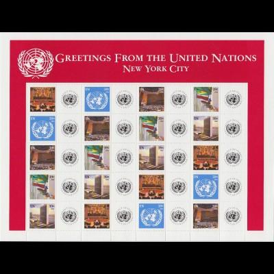 UNO NEW YORK Mi. 1005/09 (2006) GRUSSMARKEN Kleinbogen/minisheet 39c pfr/**(MNH)