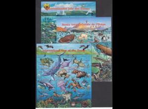 UNO NEW YORK/GENF/WIEN - Ozean 1998 postfrisch/** (MNH) - 3 Blöcke