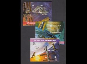 UNO NEW YORK/GENF/WIEN - 50 Jahre Weltraum 2007 postfrisch/** (MNH) - 3 Blöcke