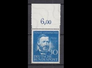 BUND MiNr. 161 Philipp Reis postfrisch/** Oberrand - € 50