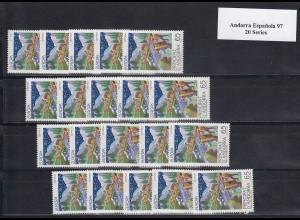 EUROPA CEPT Andorra (Spanische Post) 1997 postfrisch/** (MNH) - 20 Serien