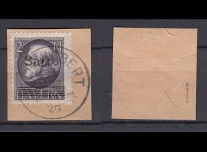 SAARGEBIET Nr. 28 Briefstück gestempelt/o - BPP geprüft - € 170
